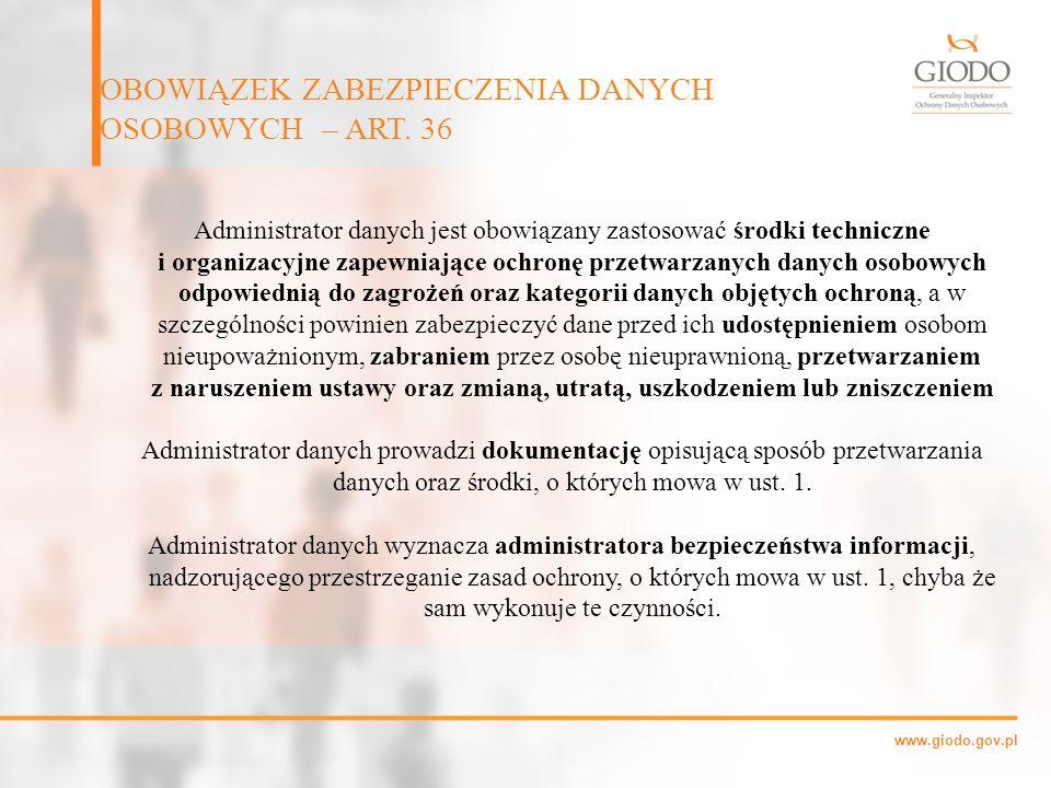 OBOWIĄZEK ZABEZPIECZENIA DANYCH OSOBOWYCH – ART. 36