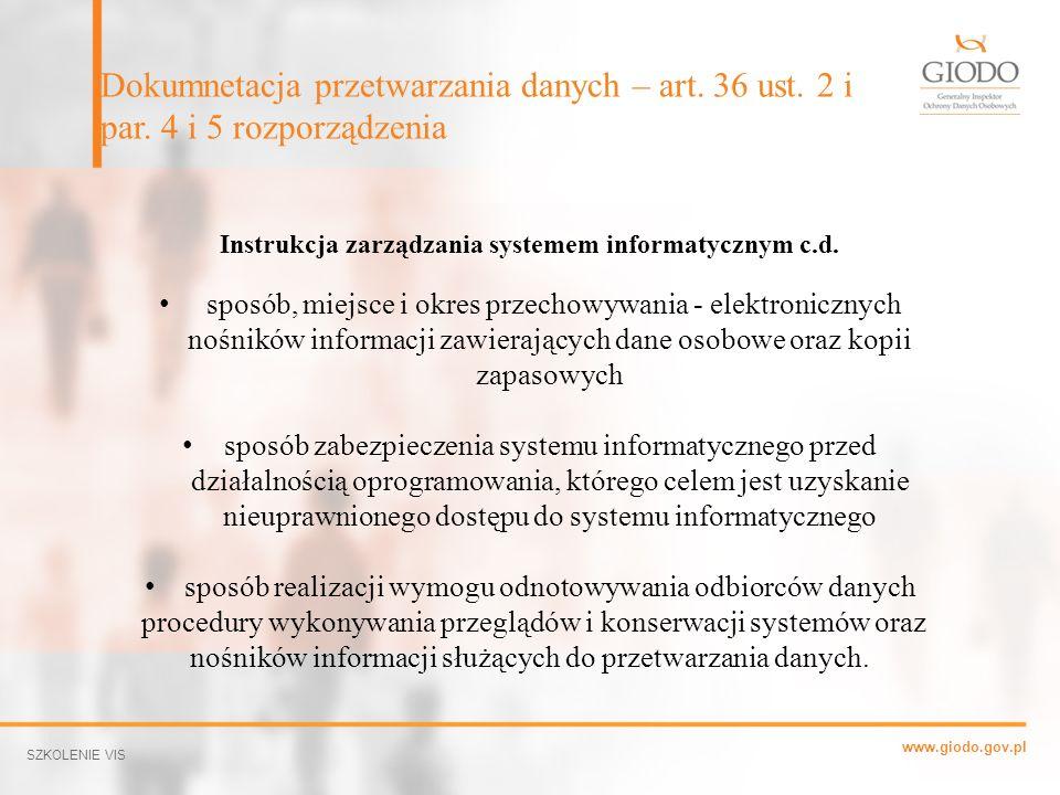 Instrukcja zarządzania systemem informatycznym c.d.