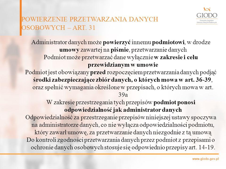 POWIERZENIE PRZETWARZANIA DANYCH OSOBOWYCH – ART. 31