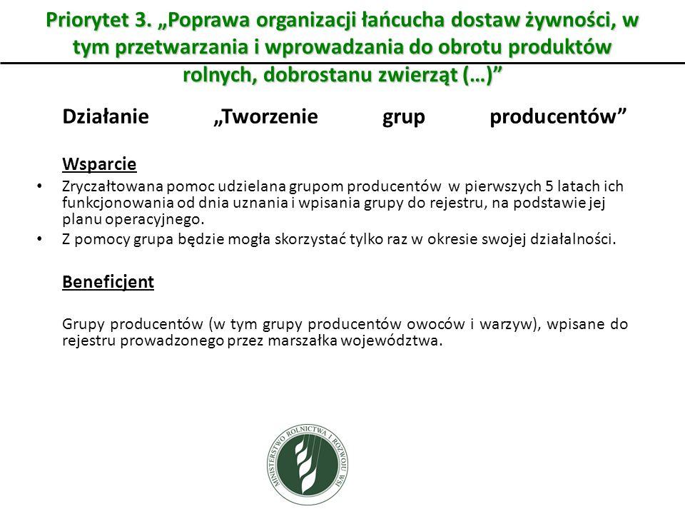 """Priorytet 3. """"Poprawa organizacji łańcucha dostaw żywności, w tym przetwarzania i wprowadzania do obrotu produktów rolnych, dobrostanu zwierząt (…)"""