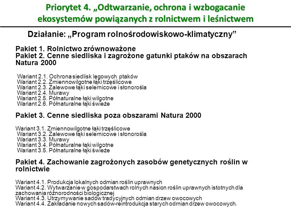 """Priorytet 4. """"Odtwarzanie, ochrona i wzbogacanie ekosystemów powiązanych z rolnictwem i leśnictwem"""