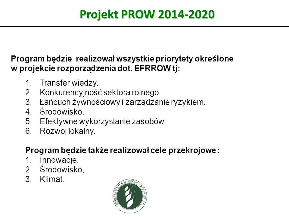 Projekt PROW 2014-2020 Program będzie realizował wszystkie priorytety określone w projekcie rozporządzenia dot. EFRROW tj: