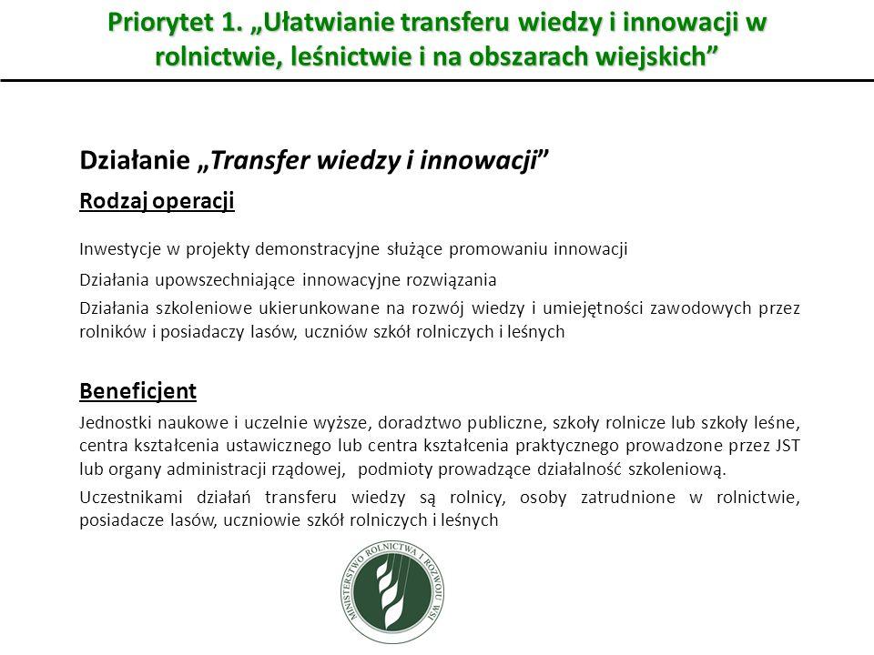 """Działanie """"Transfer wiedzy i innowacji"""