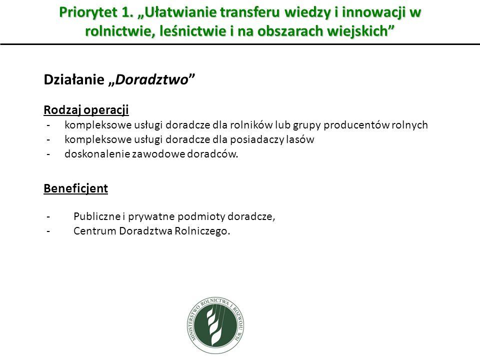 """Priorytet 1. """"Ułatwianie transferu wiedzy i innowacji w rolnictwie, leśnictwie i na obszarach wiejskich"""