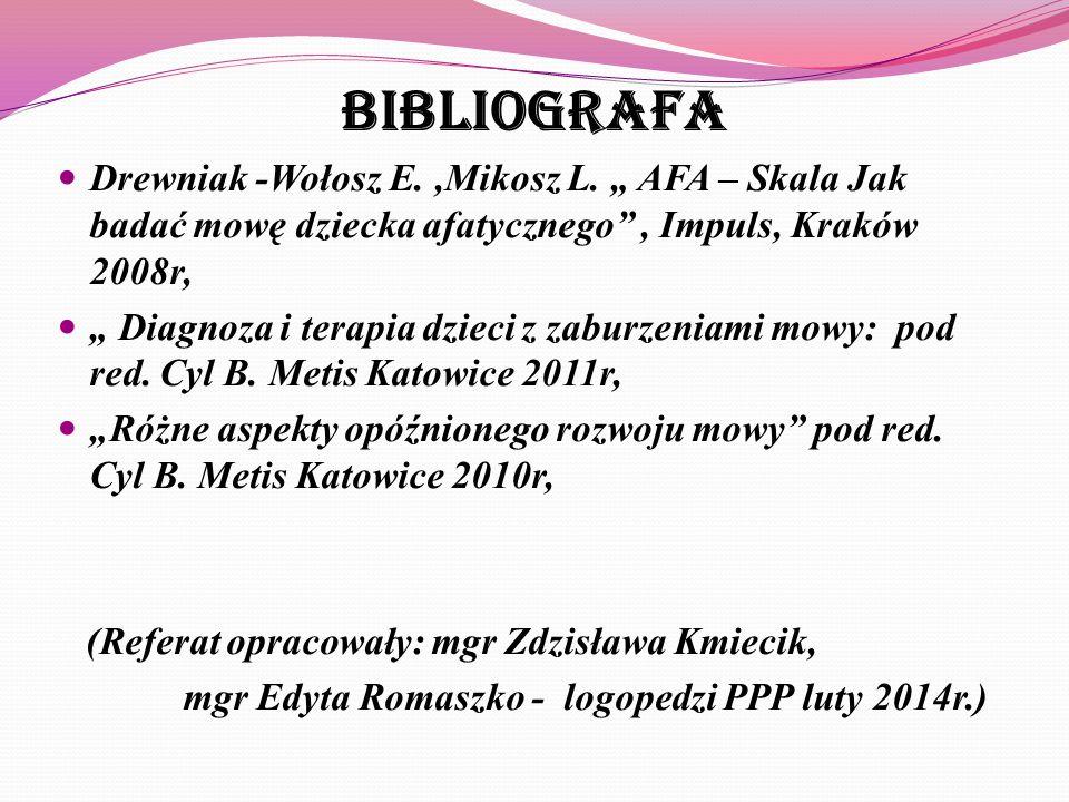 """Bibliografa Drewniak -Wołosz E. ,Mikosz L. """" AFA – Skala Jak badać mowę dziecka afatycznego , Impuls, Kraków 2008r,"""