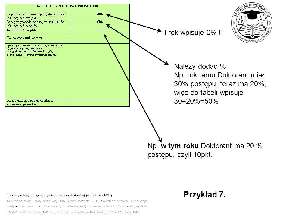 Przykład 7. I rok wpisuje 0% !! Należy dodać %