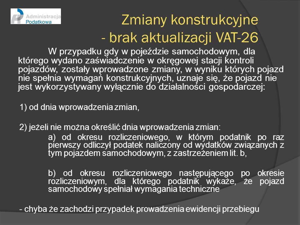 Zmiany konstrukcyjne - brak aktualizacji VAT-26