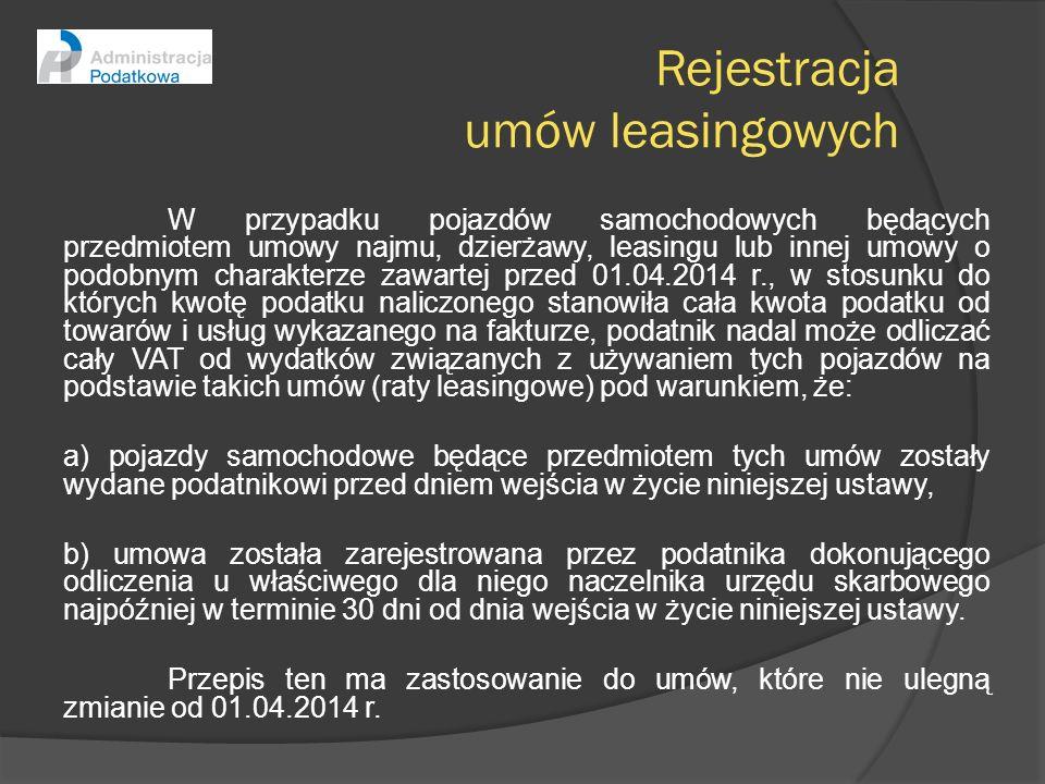 Rejestracja umów leasingowych