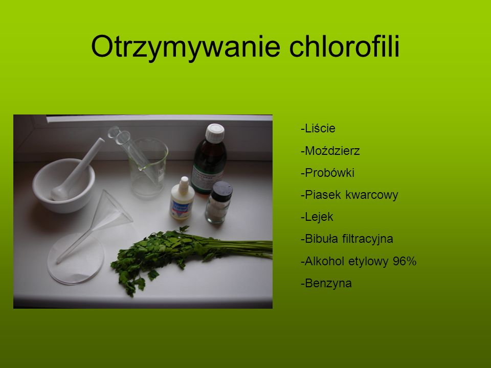 Otrzymywanie chlorofili