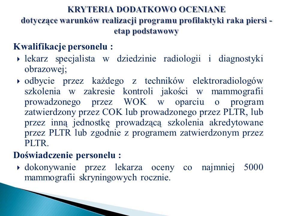 Kwalifikacje personelu :