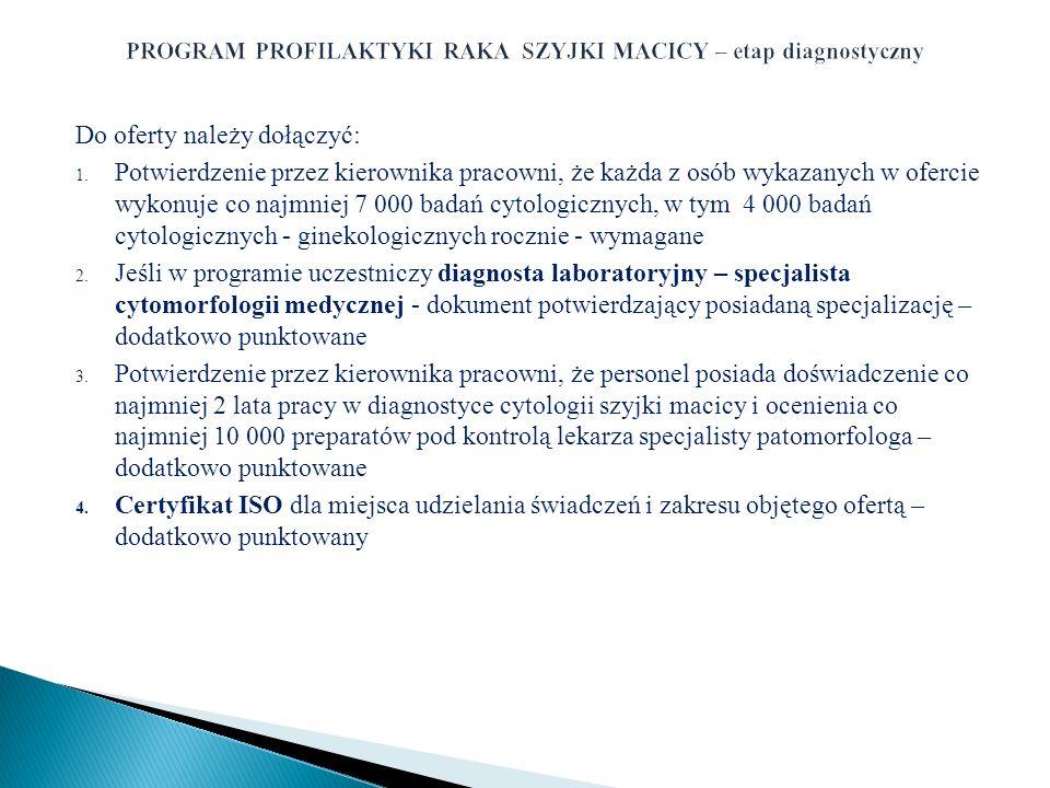 PROGRAM PROFILAKTYKI RAKA SZYJKI MACICY – etap diagnostyczny
