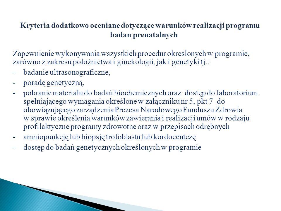 Kryteria dodatkowo oceniane dotyczące warunków realizacji programu badan prenatalnych