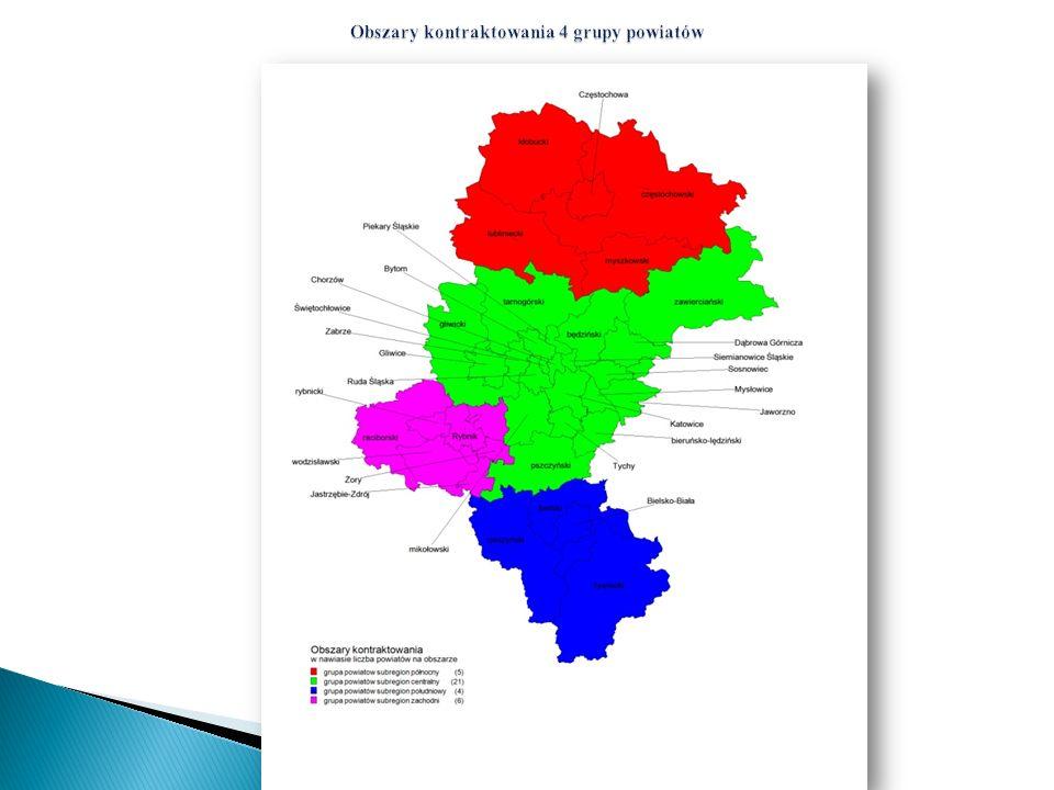 Obszary kontraktowania 4 grupy powiatów