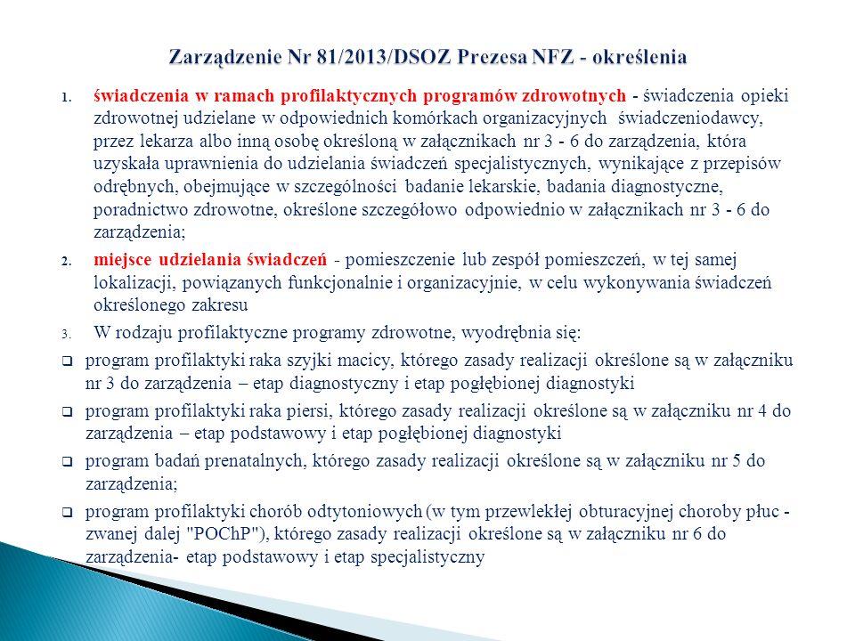 Zarządzenie Nr 81/2013/DSOZ Prezesa NFZ - określenia