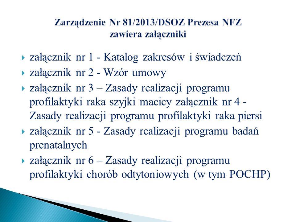 Zarządzenie Nr 81/2013/DSOZ Prezesa NFZ zawiera załączniki