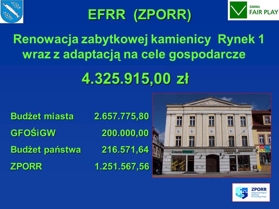 EFRR (ZPORR)Renowacja zabytkowej kamienicy Rynek 1 wraz z adaptacją na cele gospodarcze. 4.325.915,00 zł.