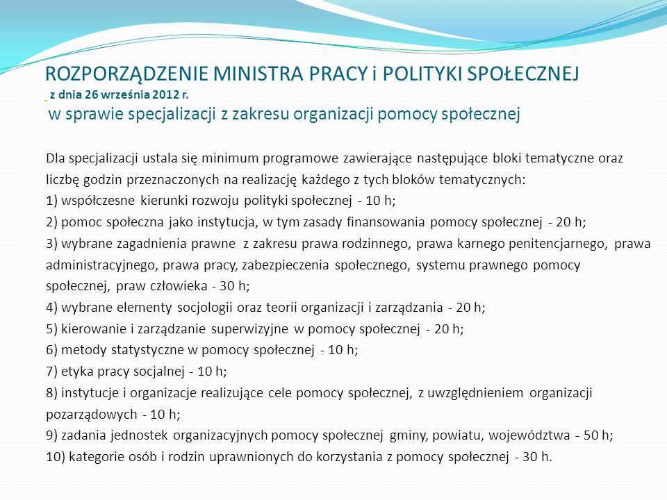 ROZPORZĄDZENIE MINISTRA PRACY i POLITYKI SPOŁECZNEJ z dnia 26 września 2012 r. w sprawie specjalizacji z zakresu organizacji pomocy społecznej