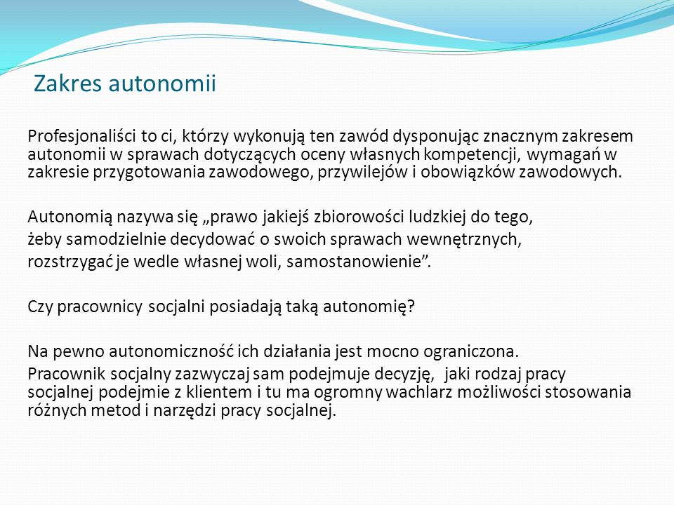 Zakres autonomii