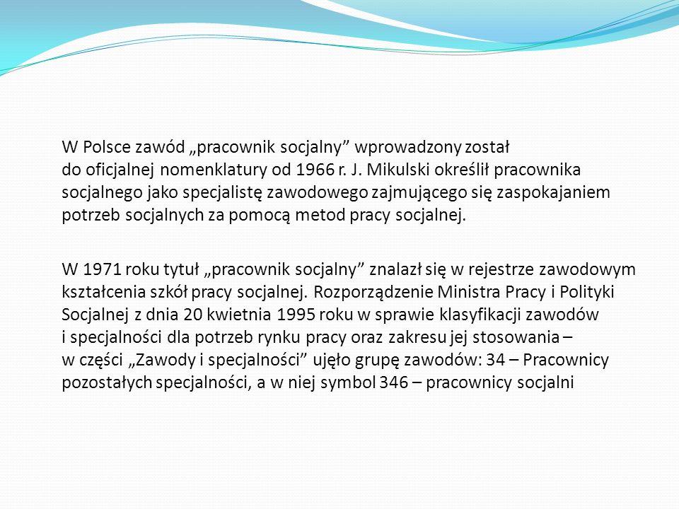 """W Polsce zawód """"pracownik socjalny wprowadzony został do oficjalnej nomenklatury od 1966 r."""