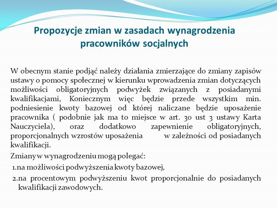 Propozycje zmian w zasadach wynagrodzenia pracowników socjalnych