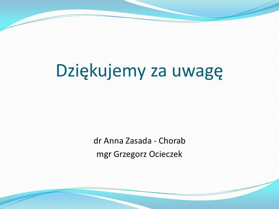 Dziękujemy za uwagę dr Anna Zasada - Chorab mgr Grzegorz Ocieczek