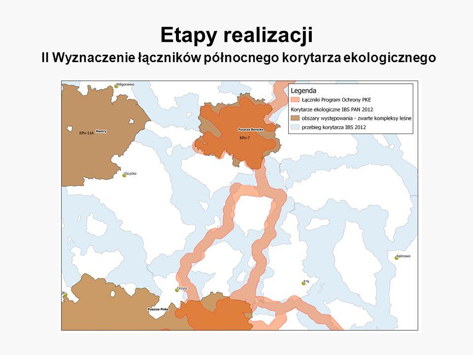 Etapy realizacji II Wyznaczenie łączników północnego korytarza ekologicznego
