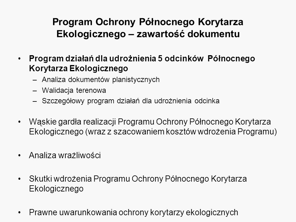 Program Ochrony Północnego Korytarza Ekologicznego – zawartość dokumentu