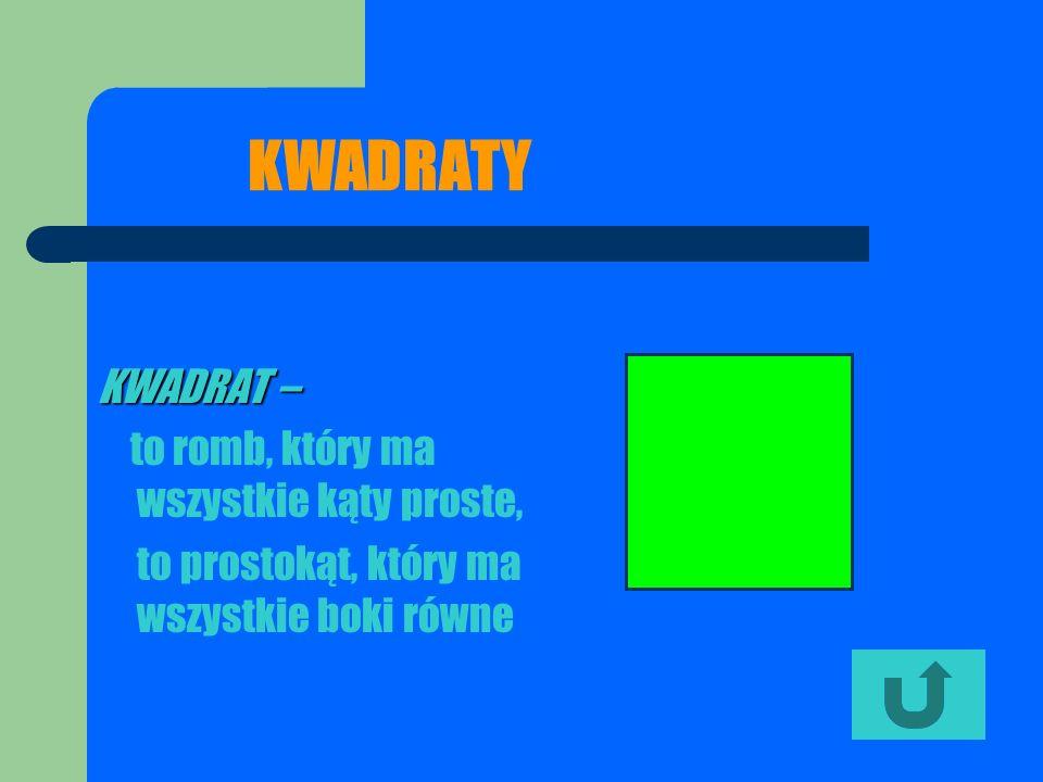 KWADRATY KWADRAT – to prostokąt, który ma wszystkie boki równe