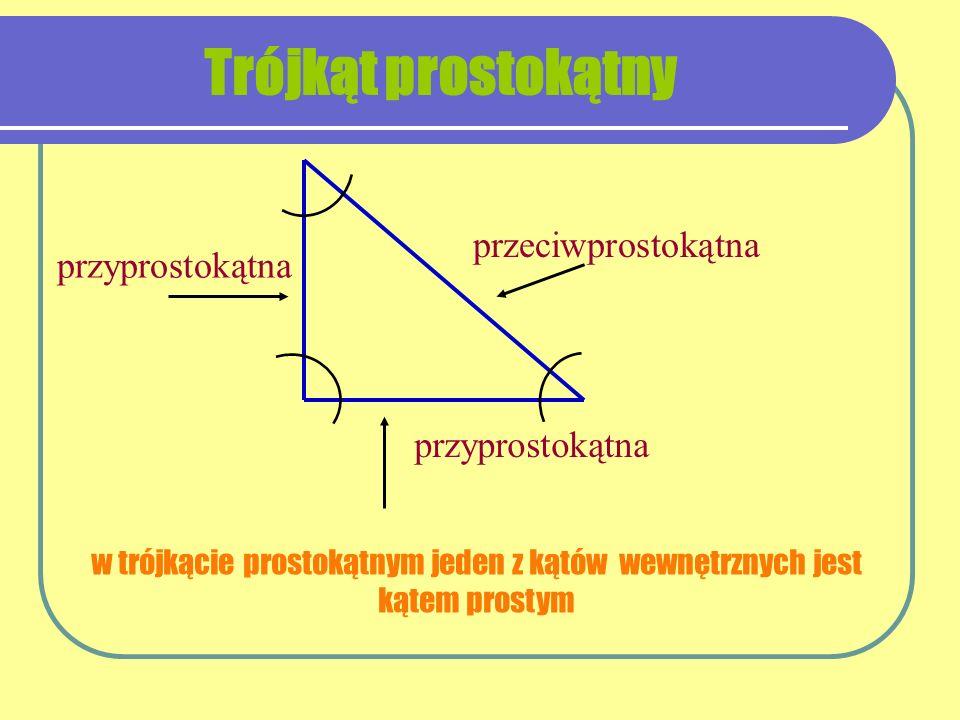 w trójkącie prostokątnym jeden z kątów wewnętrznych jest kątem prostym