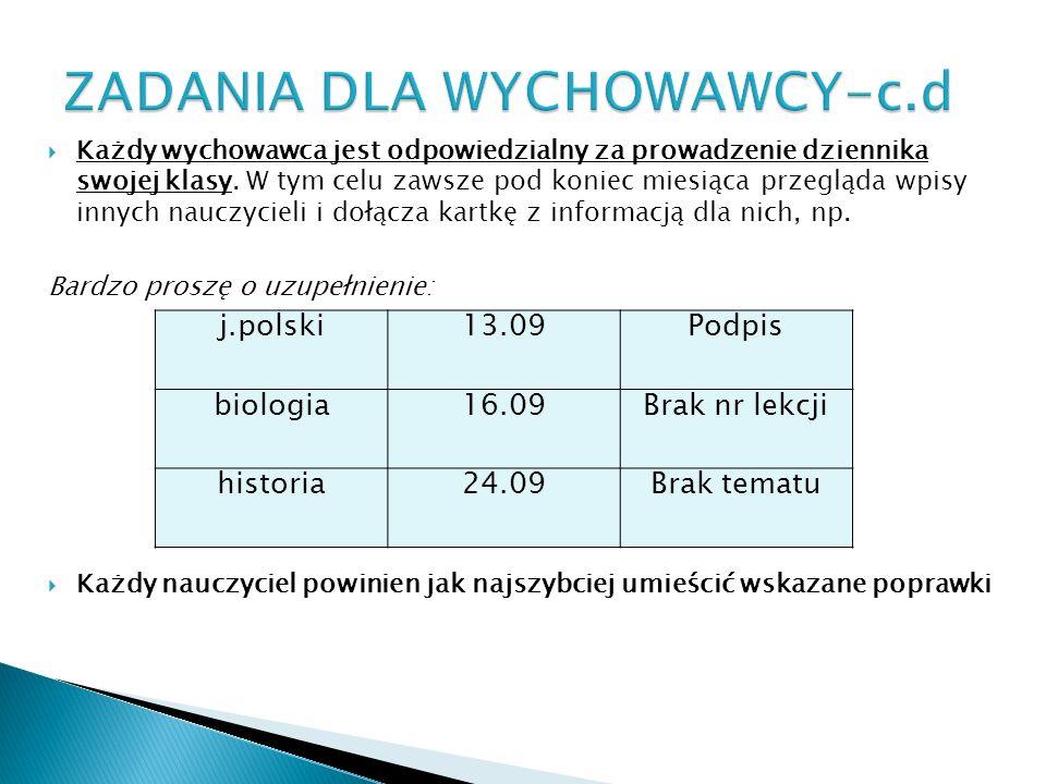 ZADANIA DLA WYCHOWAWCY-c.d