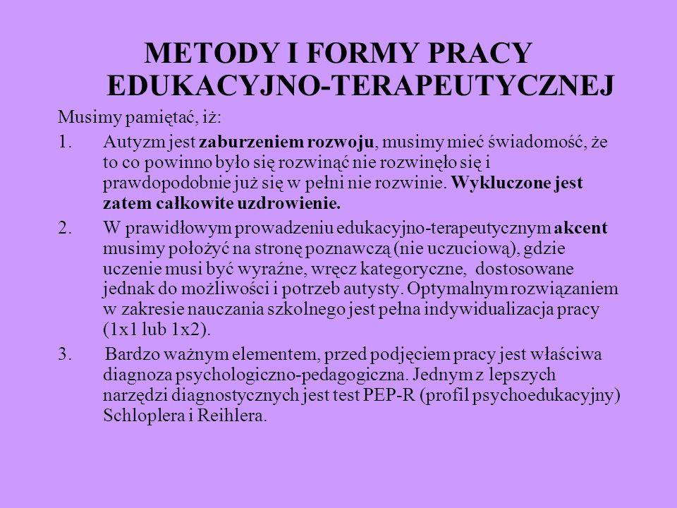 METODY I FORMY PRACY EDUKACYJNO-TERAPEUTYCZNEJ