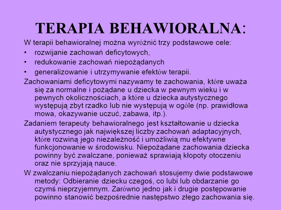 TERAPIA BEHAWIORALNA: