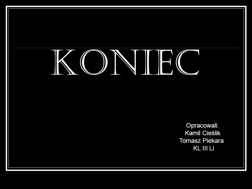 KONIEC Opracowali: Kamil Cieślik Tomasz Piekara KL III Li