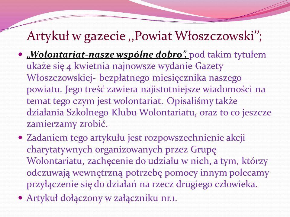 Artykuł w gazecie ,,Powiat Włoszczowski'';