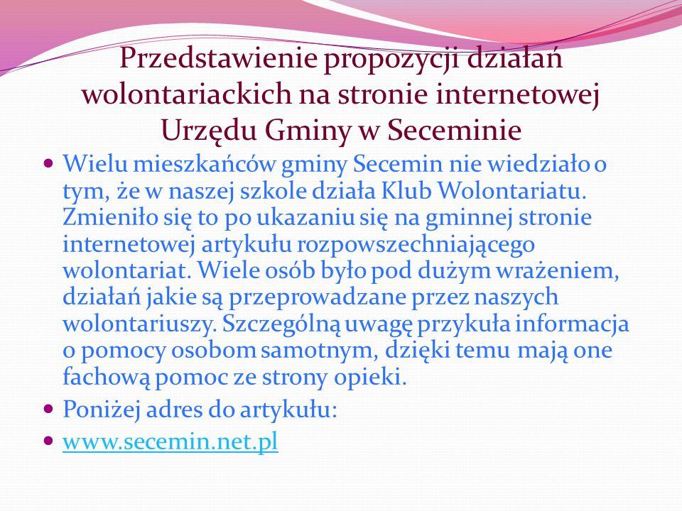 Przedstawienie propozycji działań wolontariackich na stronie internetowej Urzędu Gminy w Seceminie