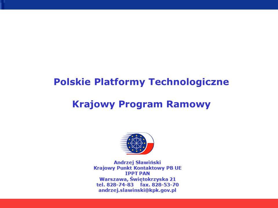 Polskie Platformy Technologiczne Krajowy Program Ramowy