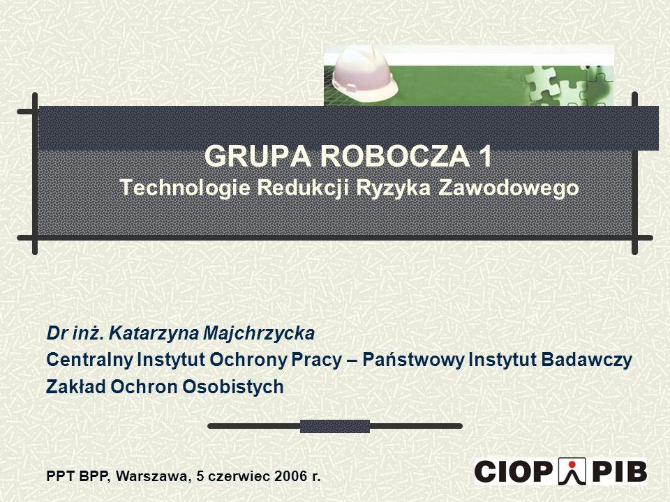 GRUPA ROBOCZA 1 Technologie Redukcji Ryzyka Zawodowego