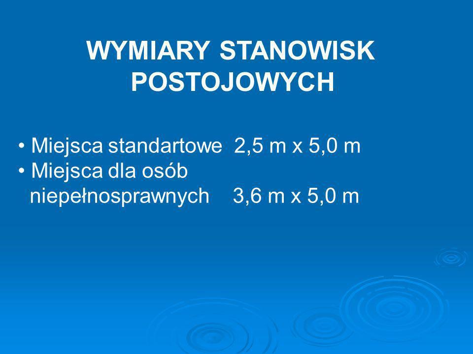 WYMIARY STANOWISK POSTOJOWYCH Miejsca standartowe 2,5 m x 5,0 m