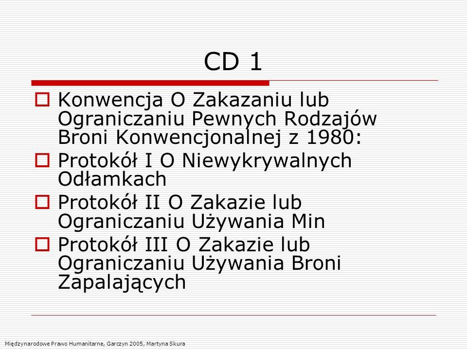 CD 1 Konwencja O Zakazaniu lub Ograniczaniu Pewnych Rodzajów Broni Konwencjonalnej z 1980: Protokół I O Niewykrywalnych Odłamkach.