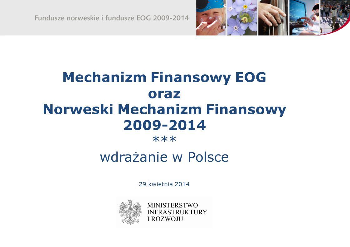 Mechanizm Finansowy EOG oraz Norweski Mechanizm Finansowy 2009-2014