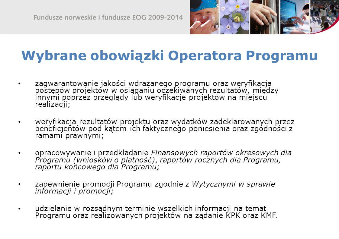 Wybrane obowiązki Operatora Programu
