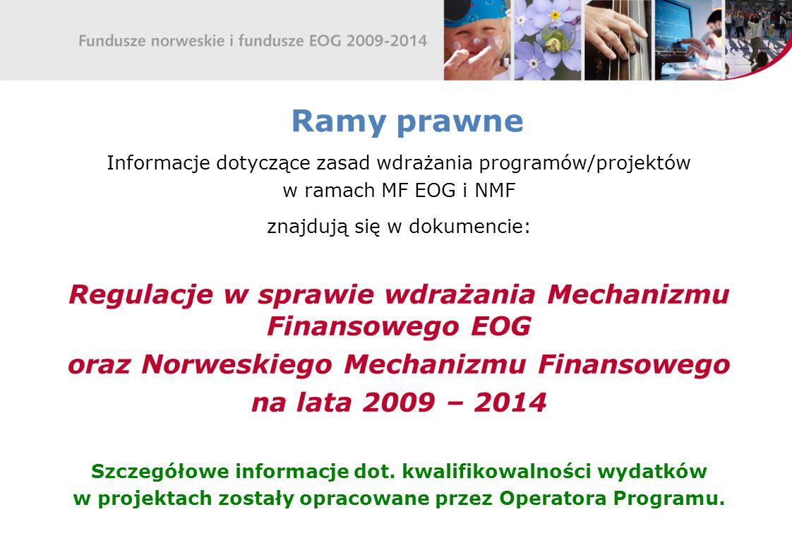 Ramy prawne Regulacje w sprawie wdrażania Mechanizmu Finansowego EOG