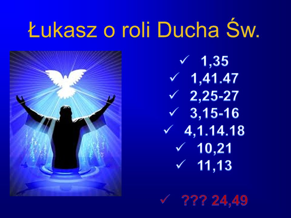 Łukasz o roli Ducha Św. 1,35 1,41.47 2,25-27 3,15-16 4,1.14.18 10,21