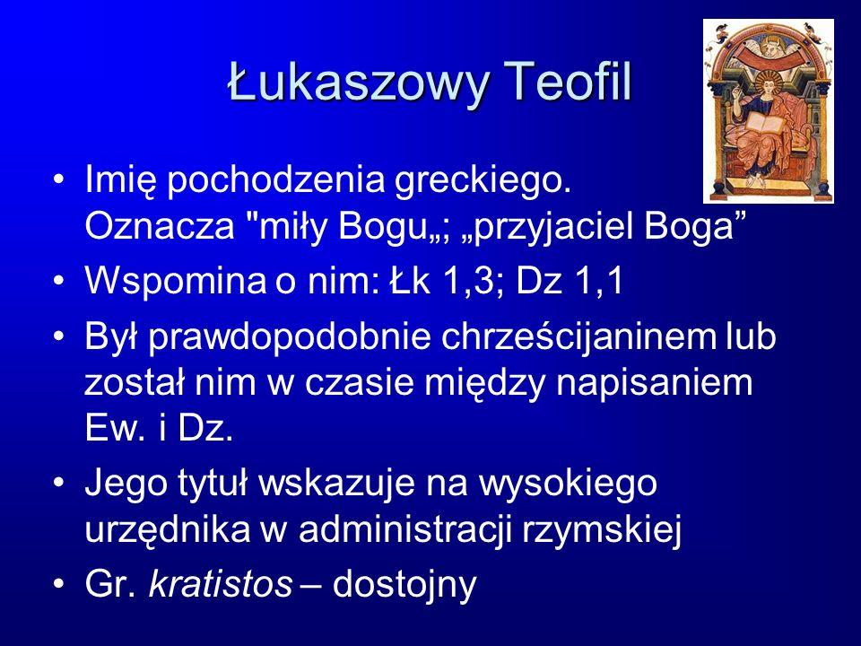 """Łukaszowy Teofil Imię pochodzenia greckiego. Oznacza miły Bogu""""; """"przyjaciel Boga Wspomina o nim: Łk 1,3; Dz 1,1."""