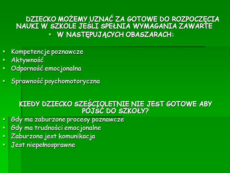 W NASTĘPUJĄCYCH OBASZARACH: