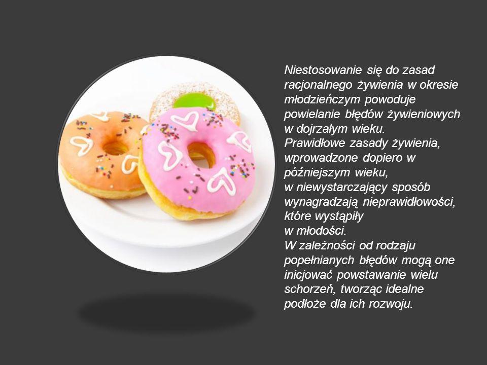 Niestosowanie się do zasad racjonalnego żywienia w okresie młodzieńczym powoduje powielanie błędów żywieniowych w dojrzałym wieku.