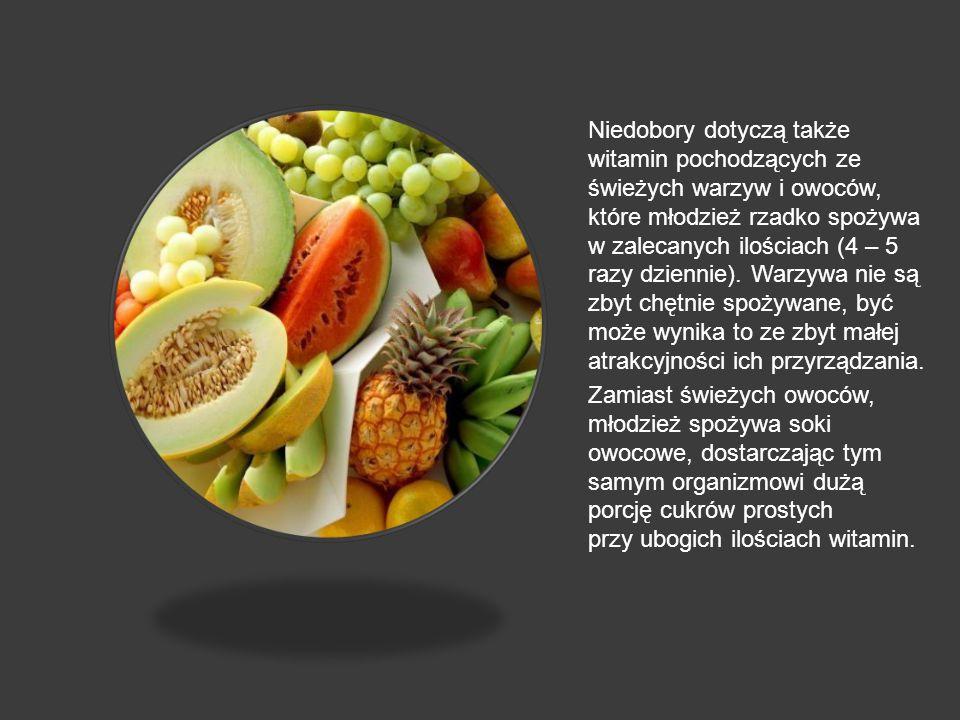 Niedobory dotyczą także witamin pochodzących ze świeżych warzyw i owoców, które młodzież rzadko spożywa w zalecanych ilościach (4 – 5 razy dziennie). Warzywa nie są zbyt chętnie spożywane, być może wynika to ze zbyt małej atrakcyjności ich przyrządzania.