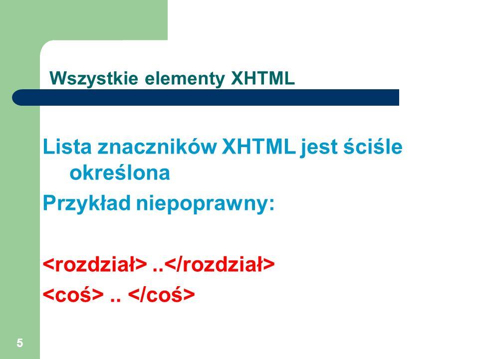 Wszystkie elementy XHTML