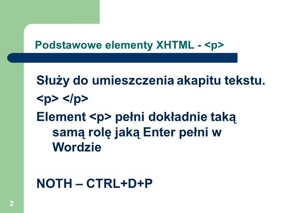 Podstawowe elementy XHTML - <p>