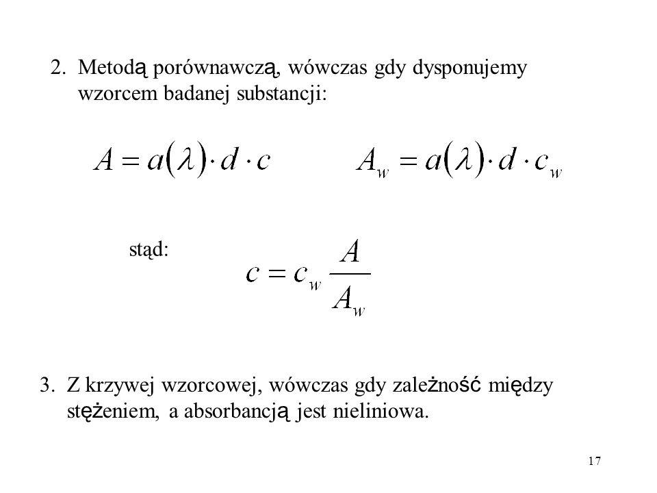 2. Metodą porównawczą, wówczas gdy dysponujemy wzorcem badanej substancji: